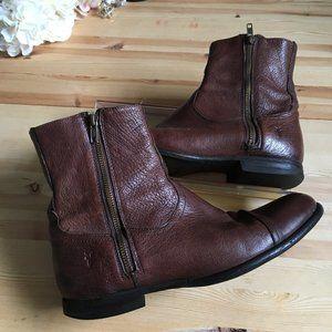Frye Waterproof Cognac Brown Leather Boots w/Zip
